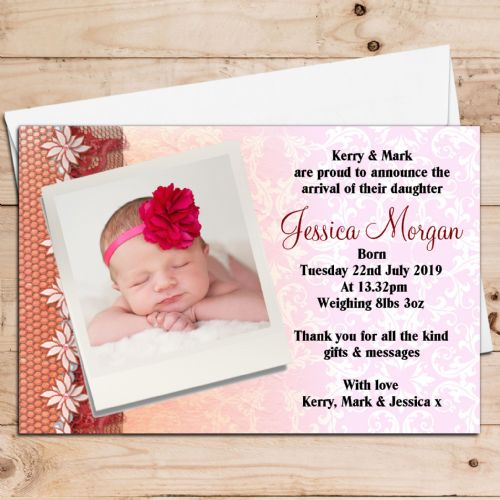 10 Personalised Baby Girl Birth Announcement Thank You PHOTO cards N55